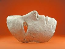 Mask. White Mask on orange background royalty free stock photo