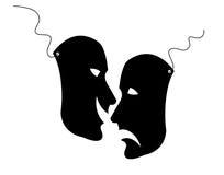 Mask. Black comedy  masks - opposite reactions Stock Photo