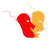 Mask. Two colorful comedy tragedy mask stock illustration