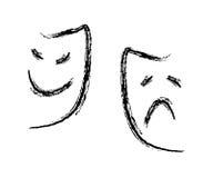 Mask. Comedy tragedy mask on isolated background Stock Image