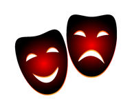 Mask. Comedy gradient tragedy mask on isolated background stock illustration