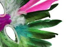 Mask. Close-up of feather mask, white background royalty free stock photo
