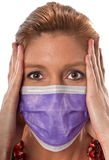 The mask. Caucasian woman in his 40s protecting herself from pandemic virus Royalty Free Stock Photo