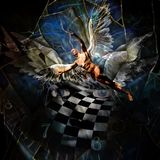 Mask and Angel. Surrealism. Eyes, face with chessboard pattern. Spiral of time. Naked man with wings represents angel. Human elements were created with 3D Royalty Free Stock Images