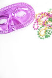 Mask and beads with copyspace Royalty Free Stock Images