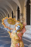 Mask in Beautiful female costume at Carnival in Venice, Italy Royalty Free Stock Photos