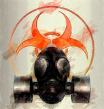 Mask with biohazard symbol - sketch Stock Photography