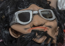 Mask with black hair and glasses for the holiday of Purim Royalty Free Stock Photos