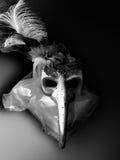 Mask black white horror long nose Venetian mask background carnival Royalty Free Stock Images