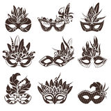 Mask Black White Icons Set. For masquerade and theatre performance flat isolated vector illustration Stock Photography