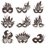 Mask Black White Icons Set stock photography