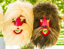 Mask. Blond and brunet masks in an exposition in Cluj-Napoca, Romania Stock Photography