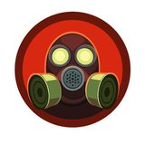 Mask for breathing in fire. Breathing mask eyes glow around the red light for a good icon on the computer at your request vector illustration
