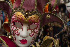 Beautiful purple Venetian mask carnival. Mask in Venice - Italy - Europe royalty free stock photo