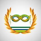 Mask carnival brazil olympic games emblem vector illustration