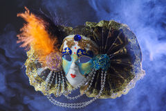 Mask carnival. Smoke blue black background Stock Photo