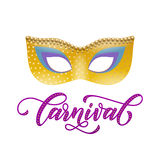 Mask carnival text for Mardi Gras or Venetian masquerade festival. Mardi Gras or Venetian mask carnival calligraphy lettering for masquerade festival. Fat Stock Images