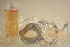 Mask and champagne Royalty Free Stock Image
