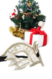 Mask and Christmas decoration Royalty Free Stock Photos