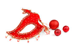 Mask with Christmas ornaments Royalty Free Stock Images