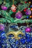 Mask Christmas tree balls Santa Claus Stock Photo