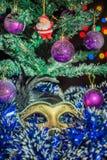Mask Christmas tree balls Santa Claus Stock Photo