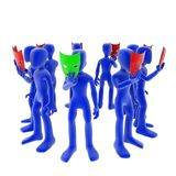 Mask circle. Blue 3d figures holding masks in a circle stock illustration