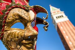 Mask of clown at Venice carnival 2018 Royalty Free Stock Images
