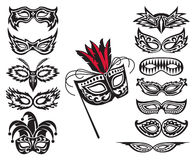 Mask collection. Set of isolated carnival masks Stock Photography