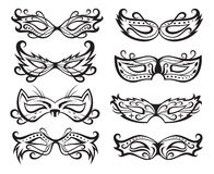 Mask collection. Set of isolated carnival masks Stock Images