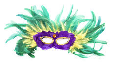 Mask of colorful feathers and sequins Royalty Free Stock Photos