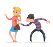 Mask Criminal Male Thief Stealing Purse from Hapless Female Girl Character Isolated Icon Cartoon Design Template Vector. Mask Criminal Male Stealing Thief Purse Stock Photos