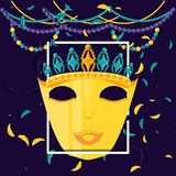Mask with crown queen of carnival celebration icon royalty free illustration