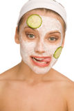 Mask with cucmber Royalty Free Stock Photography
