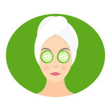 Mask of cucumber on her eyes. Vector Royalty Free Stock Photo