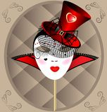 Mask dame. Against the background of an abstract pattern carnival masks extravagant lady in a red hat with veil Stock Photos