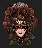 Mask on a dark brown background. Carnival mask decorated with beads, feathers and fabric, shown against a dark background Stock Photography