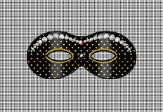 Mask, diamond. Mask carnival, children's parties abstract background. Color illustrations. Black mask with diamonds on a black background with gold polka dots royalty free illustration