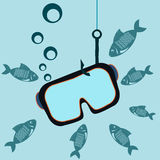 Mask for diving on a fishing hook underwater. With the fishes stock illustration