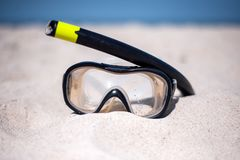 Mask for diving on a sunny beach stock photography