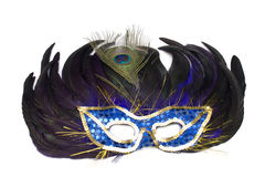 Mask from feathers on a white Stock Images