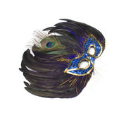 Mask from feathers on a white Stock Image