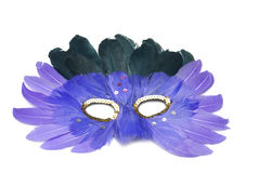 Mask from feathers on a white Royalty Free Stock Photos