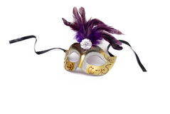 Mask from feathers on a white Stock Photography