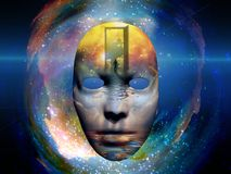 Mask in the space. Mask with figure of man in the space. Human elements were created with 3D software and are not from any actual human likenesses Royalty Free Stock Image