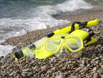 Mask, fins, and snorkel Stock Image