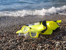 Mask, fins, and snorkel Stock Photo