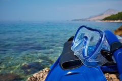 Mask and flippers Stock Images