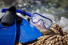 Mask and flippers Stock Image