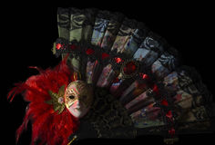 Mask with folding fan. stock image